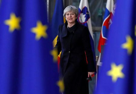 Britain's Prime Minister Theresa May arrives to attend the EU summit in Brussels