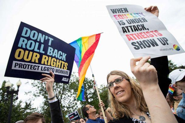 PHOTO: Transgender woman Alison Gill from Maryland, joins LGBT supporters in front of the U.S. Supreme Court, Tuesday, Oct. 8, 2019, in Washington. (Manuel Balce Ceneta/AP)