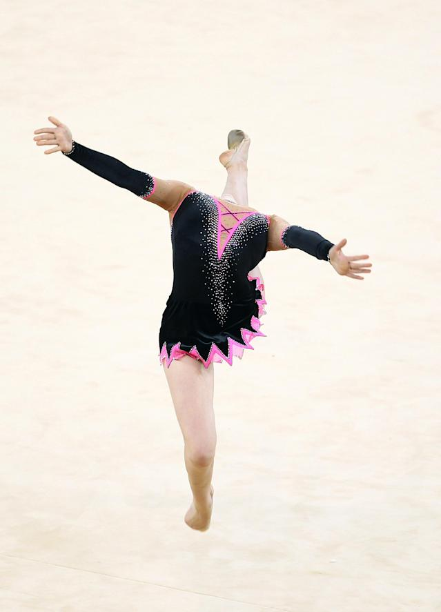 DELHI, INDIA - OCTOBER 14: Francesca Jones of Wales performs in the ball dicipline during the individual apparatus final at the IG Sports Complex during day eleven of the 2010 Commonwealth Games on October 14, 2010 in Delhi, India. (Photo by Julian Finney/Getty Images)