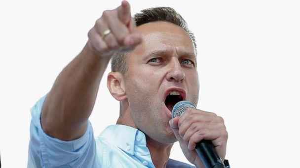 PHOTO: (FILES) In this file photo taken on July 20, 2019 Russian opposition leader Alexei Navalny addresses demonstrators during a rally to support opposition and independent candidates.  (Maxim Zmeyev/AFP via Getty Images)