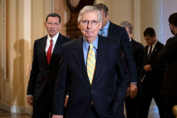 PHOTO: Senate Majority Leader Mitch McConnell and the GOP leadership team arrive to speak to reporters following their weekly policy conference, at the Capitol in Washington, June 11, 2019. (J. Scott Applewhite/AP, FILE)