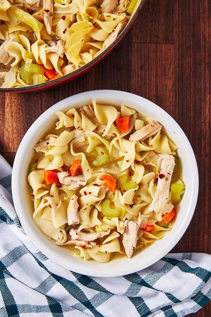 """<p>Step out of your chicken noodle comfort zone.</p><p>Get the recipe from <a href=""""https://www.delish.com/cooking/recipe-ideas/a29089192/turkey-noodle-soup-recipe/"""" rel=""""nofollow noopener"""" target=""""_blank"""" data-ylk=""""slk:Delish"""" class=""""link rapid-noclick-resp"""">Delish</a>.</p>"""
