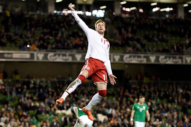 Soccer Football - 2018 World Cup Qualifications - Europe - Republic of Ireland vs Denmark - Aviva Stadium, Dublin, Republic of Ireland - November 14, 2017 Denmark's Nicklas Bendtner celebrates scoring their fifth goal REUTERS/Clodagh Kilcoyne TPX IMAGES OF THE DAY