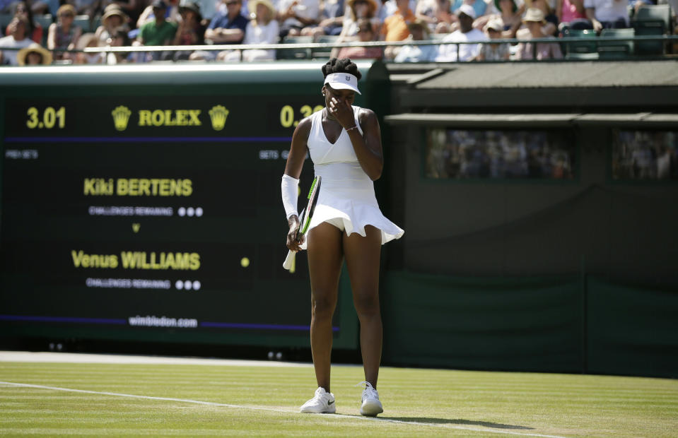 Venus Williams is out in the third round of Wimbledon. (AP Photo/Tim Ireland)