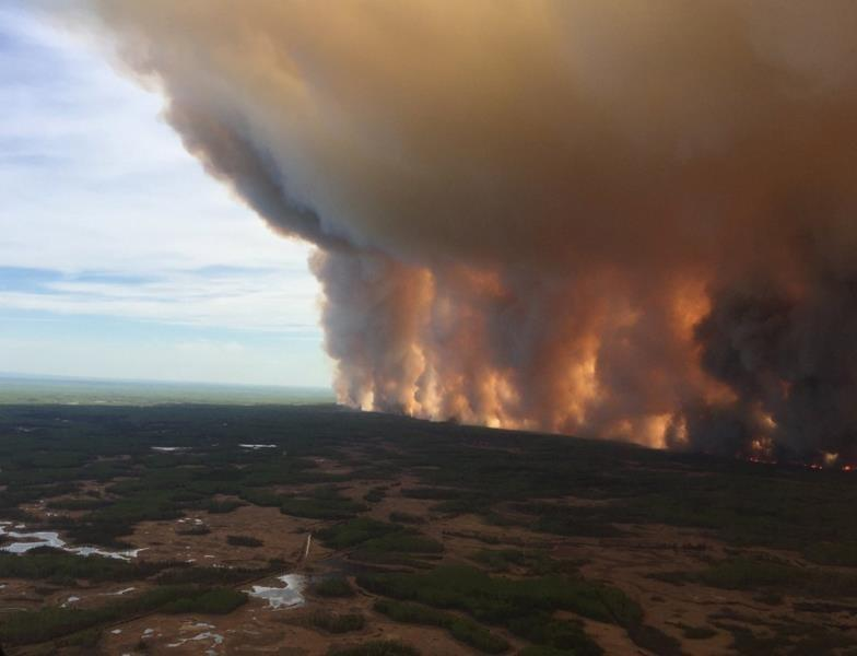 Winds helping in battle against fire threatening northern Alberta town