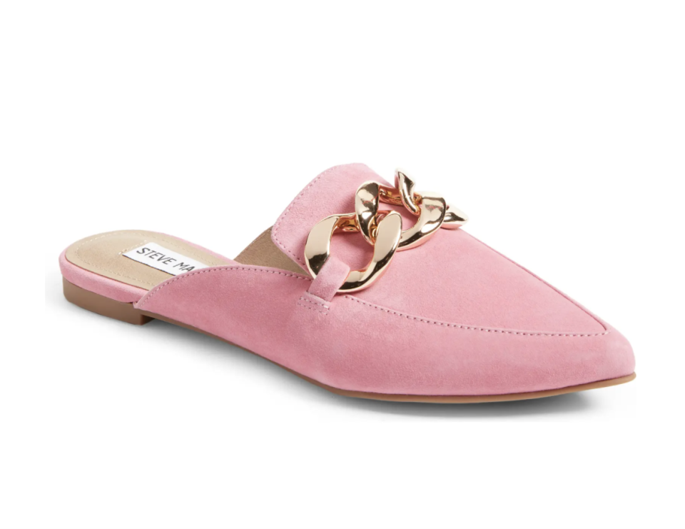 Steve Madden Finn Chain Pointed Toe Mule in Pink Suede (Photo via Nordstrom Canada)