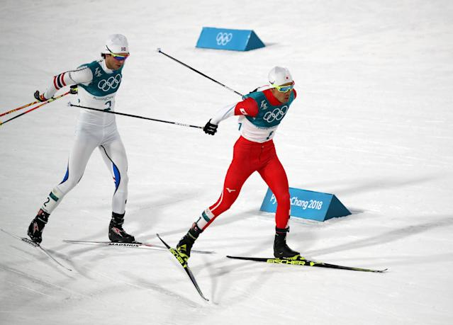 Nordic Combined Events - Pyeongchang 2018 Winter Olympics - Men's Individual 10 km Final - Alpensia Cross-Country Skiing Centre - Pyeongchang, South Korea - February 20, 2018 - Akito Watabe of Japan and Jarl Magnus Riiber of Norway in action. REUTERS/Carlos Barria