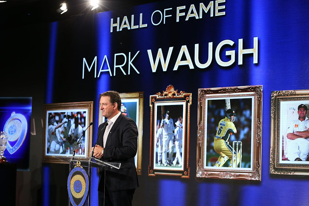 SYDNEY, AUSTRALIA - JANUARY 20:  Mark Waugh speaks after being inducted into the Australian Cricket Hall of Fame during the 2014 Allan Border Medal at Doltone House on January 20, 2014 in Sydney, Australia.  (Photo by Mark Metcalfe/Getty Images)