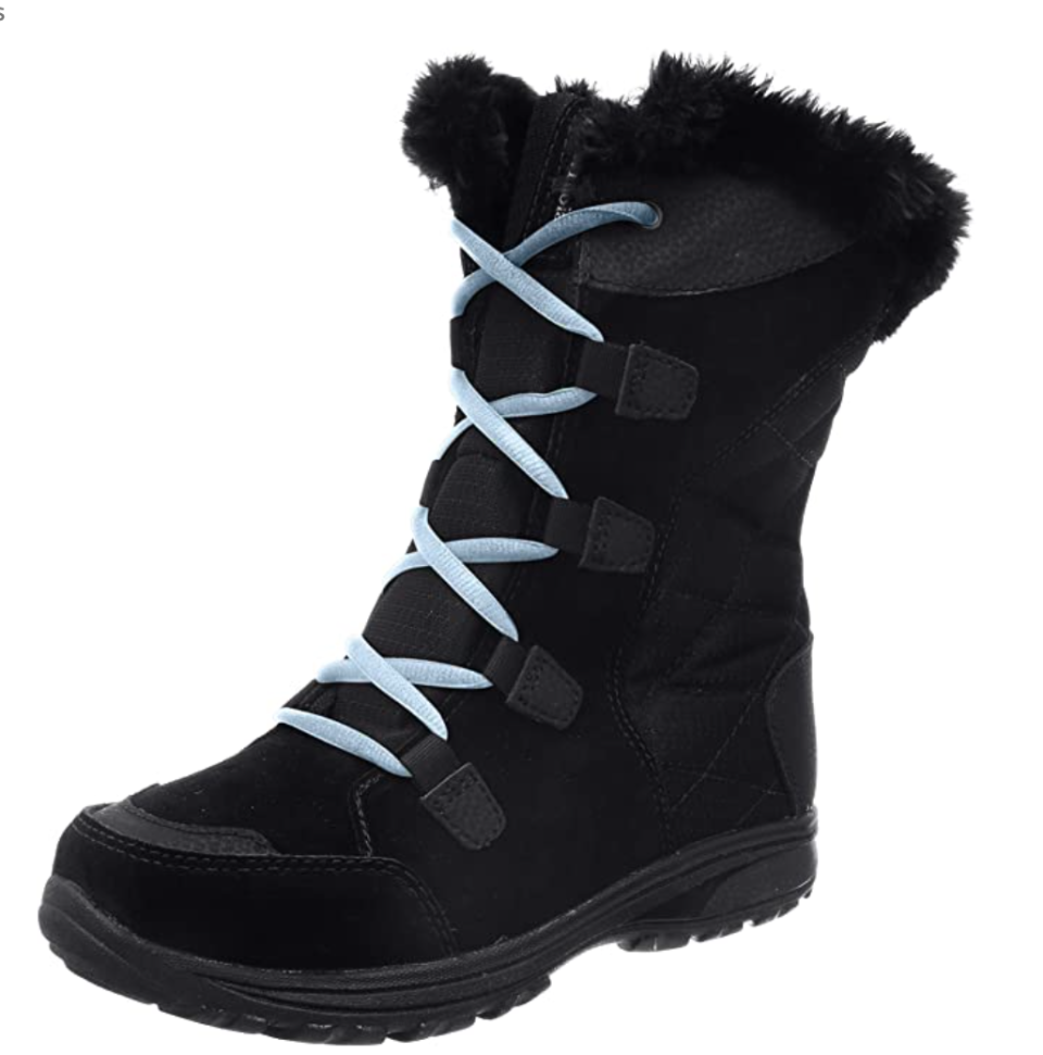 Columbia Ice Maiden Shearling Boots in Black/Oxygen (Photo via Amazon)
