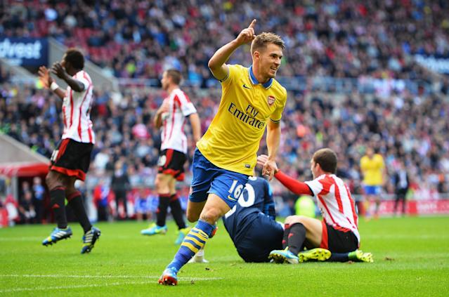 SUNDERLAND, ENGLAND - SEPTEMBER 14: Aaron Ramsey of Arsenal celebrates his second goal during the Barclays Premier League match between Sunderland and Arsenal at the Stadium of Light on September 14, 2013 in Sunderland, England. (Photo by Laurence Griffiths/Getty Images)