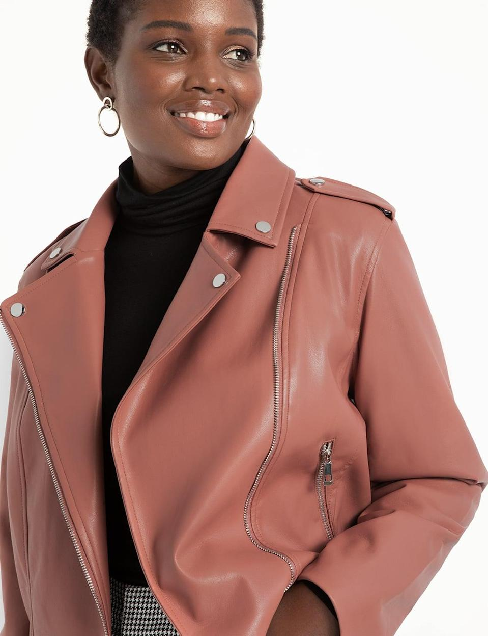<p>This <span>Eloquii Faux Leather Moto Jacket</span> ($130) comes in a few colors.</p>