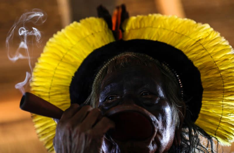 Indigenous leader Cacique Raoni of Kayapo tribe is pictured during a four-day pow wow in Piaracu village near Sao Jose do Xingu