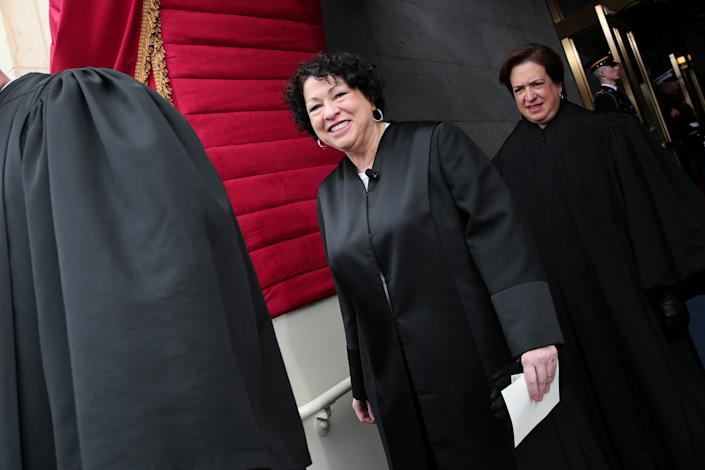 Supreme Court Justice Sonia Sotomayor arrives for the presidential inauguration on the West Front of the U.S. Capitol January 21, 2013 in Washington, DC. Barack Obama was re-elected for a second term as President of the United States. (Photo by Win McNamee/Getty Images)