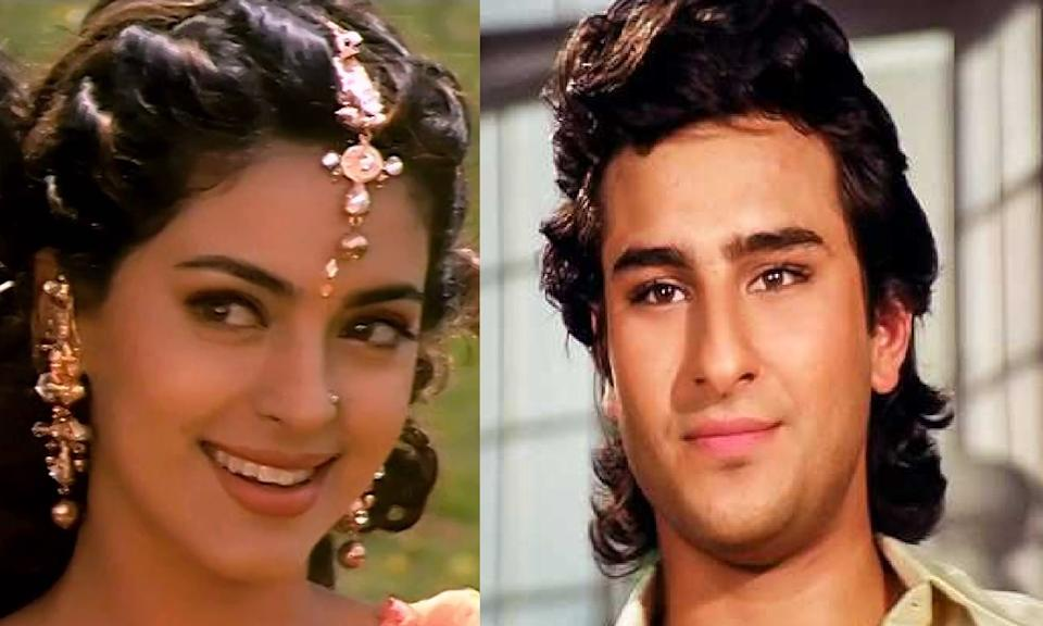 Juhi made a successful couple with Shah Rukh Khan and Aamir. She was seen romancing Salman Khan for a brief moment in the 1997 release <em>Deewana-Mastana. </em>Juhi was a relevant actress of the 90s and though Saif was not as successful, the star status was endowed upon him right from his first movie. So its weird that no maker ever saw any possibility in the pairing of Saif-Juhi. We think they would have looked cute together, jumping around trees to the beats of an Anu Mallik number.