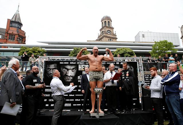 Boxing - Tyson Fury & Sefer Seferi Weigh-In - Great Northern Amphitheatre, Manchester, Britain - June 8, 2018 Tyson Fury during the weigh in Action Images via Reuters/Craig Brough