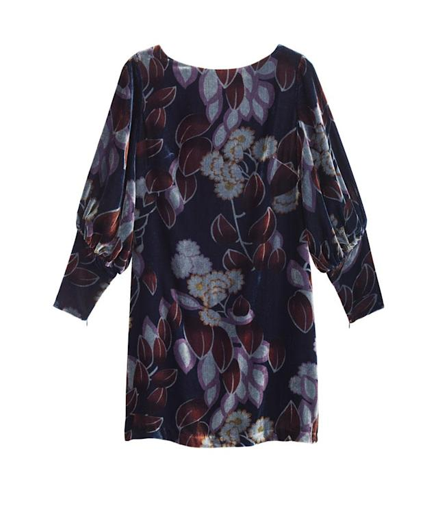 "<p>Ann Taylor Printed Velvet Puff Sleeve Dress, $159, <a href=""https://www.anntaylor.com/printed-velvet-puff-sleeve-dress/443352"" rel=""nofollow noopener"" target=""_blank"" data-ylk=""slk:anntaylor.com."" class=""link rapid-noclick-resp"">anntaylor.com.</a> </p>"