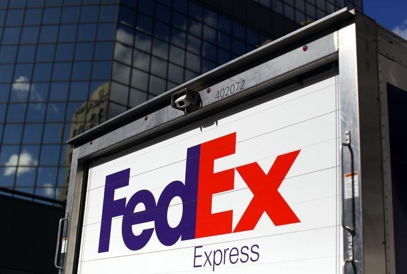FedEx delivery truck is seen in San Diego, California