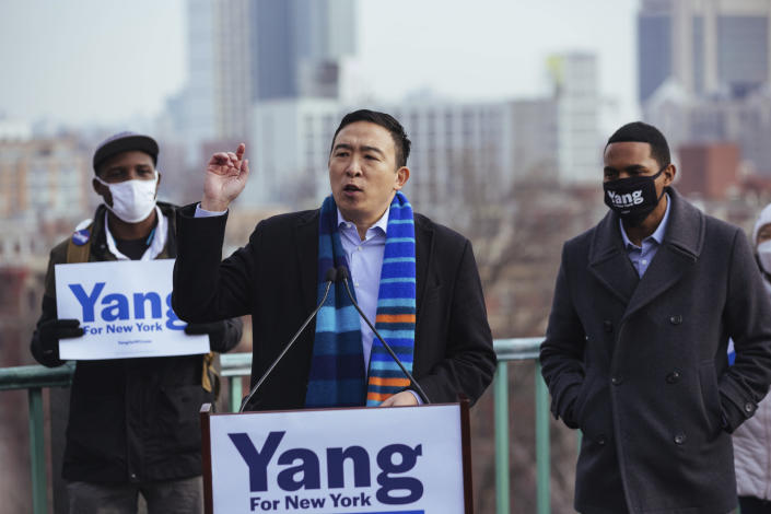 Andrew Yang announces his run for New York Mayor during a press conference in Morningside Park on Thursday, Jan. 14, 2021, in New York. (AP Photo/Kevin Hagen).