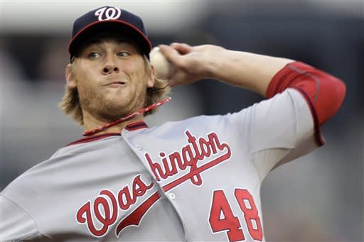 Washington Nationals pitcher Ross Detwiler throws in the first inning of a baseball game against the Pittsburgh Pirates in Pittsburgh on Wednesday, May 9, 2012. (AP Photo/Gene J. Puskar)