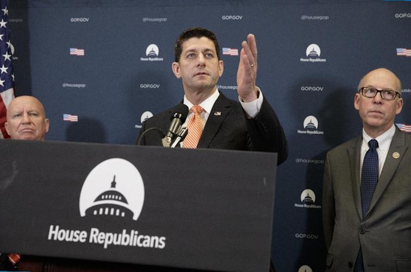 "House Speaker Paul Ryan Wis., center, flanked by House Ways and Means Committee Chairman Rep. Kevin Brady, R-Texas, left, and House Energy and Commerce Committee Chairman Rep. Greg Walden, R-Ore., meet with reporters on Capitol Hill in Washington, Tuesday, Feb. 14, 2017, following a GOP strategy session. Ryan said President Donald Trump made the ""right decision"" to ask for the resignation of Michael Flynn, who is out as national security adviser. (AP Photo/J. Scott Applewhite)"