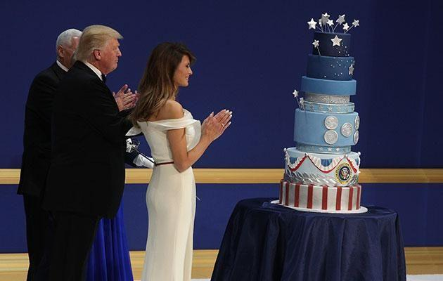 Trump showed off an impressive cake at an event last week. Photo: Getty images