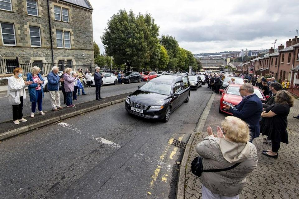 The funeral cortege leaves St Eugene's Cathedral in Londonderry (Liam McBurney/PA) (PA Wire)