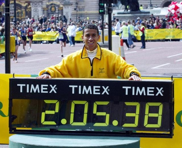 Khalid Khannouchi broke his own world record in the 2002 London Marathon (Tom Hevezi/PA)