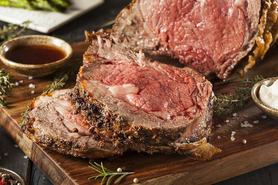 <p>The ultimate goal with prime rib is to have a richly browned crust with a juicy, tender center. The key to delicious prime rib is making sure that the meat is cooked to your desired level of doneness, not by time. For rare meat, cook to 120 degrees F; for medium-rare meat, cook to 130 degrees; for medium meat, cook to 135-140; for medium-well meat, cook to 145; and for well-done meat, cook to 155 (but note that anything above medium-rare is considered sacrilege in many circles when it comes to standing rib roast). Feel free to remove the meat from the oven when it's about 5 degrees below your preferred temperature since the internal temperature will rise as it rests.</p>