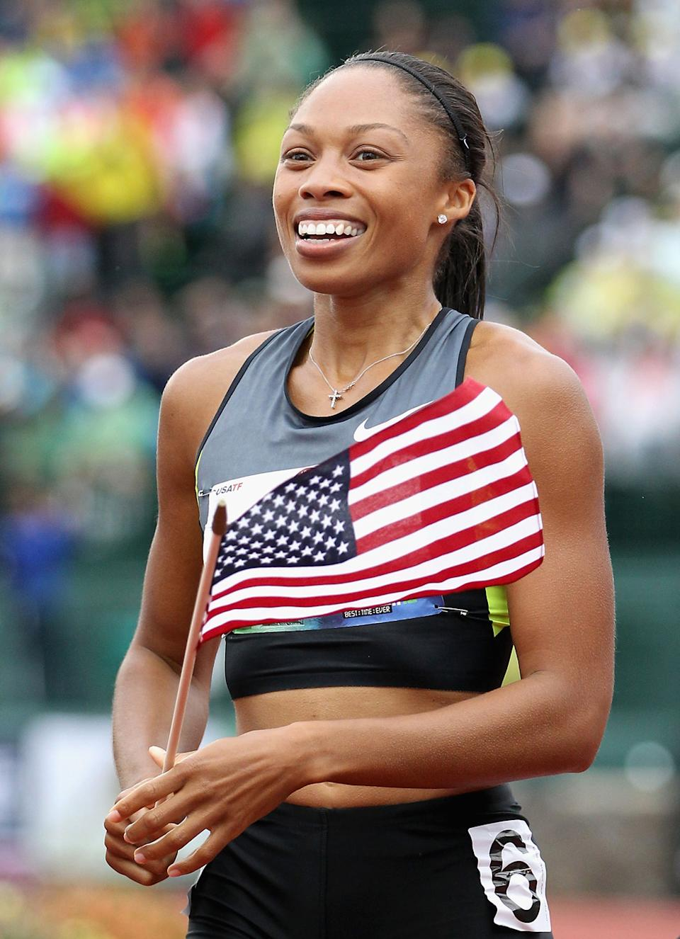 """<b>Allyson Felix</b><br> Team USA's Allyson Felix is the only woman to be a three-time Athletics World Championship gold medalist. She was nicknamed """"Chicken Legs"""" in high school, but her now perfectly built muscular body is far from that. (Photo by Christian Petersen/Getty Images)"""