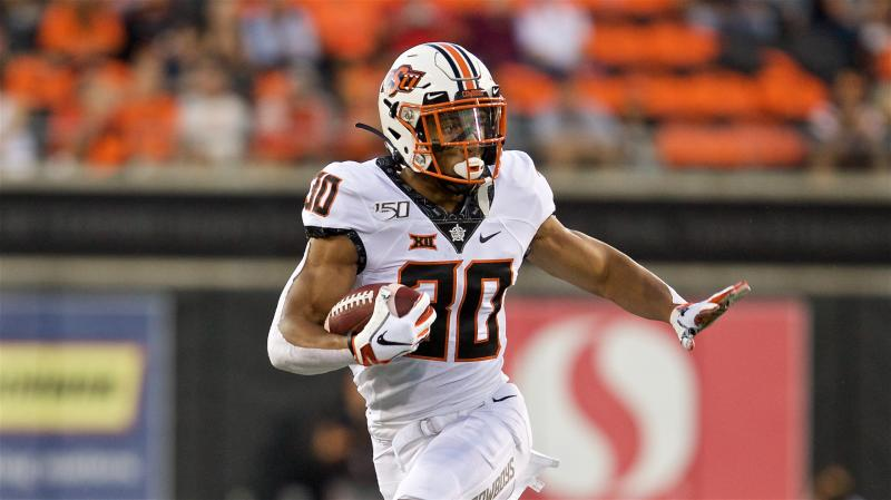 Oklahoma State Cowboys running back Chuba Hubbard during an NCAA football game on Friday, Aug. 30, 2019 in Corvallis, Ore. (AP Photo/Craig Mitchelldyer)