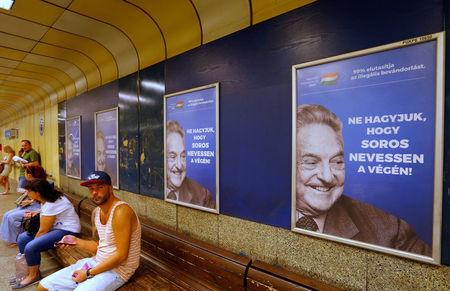 FILE PHOTO: Hungarian government poster portraying financier George Soros in Budapest