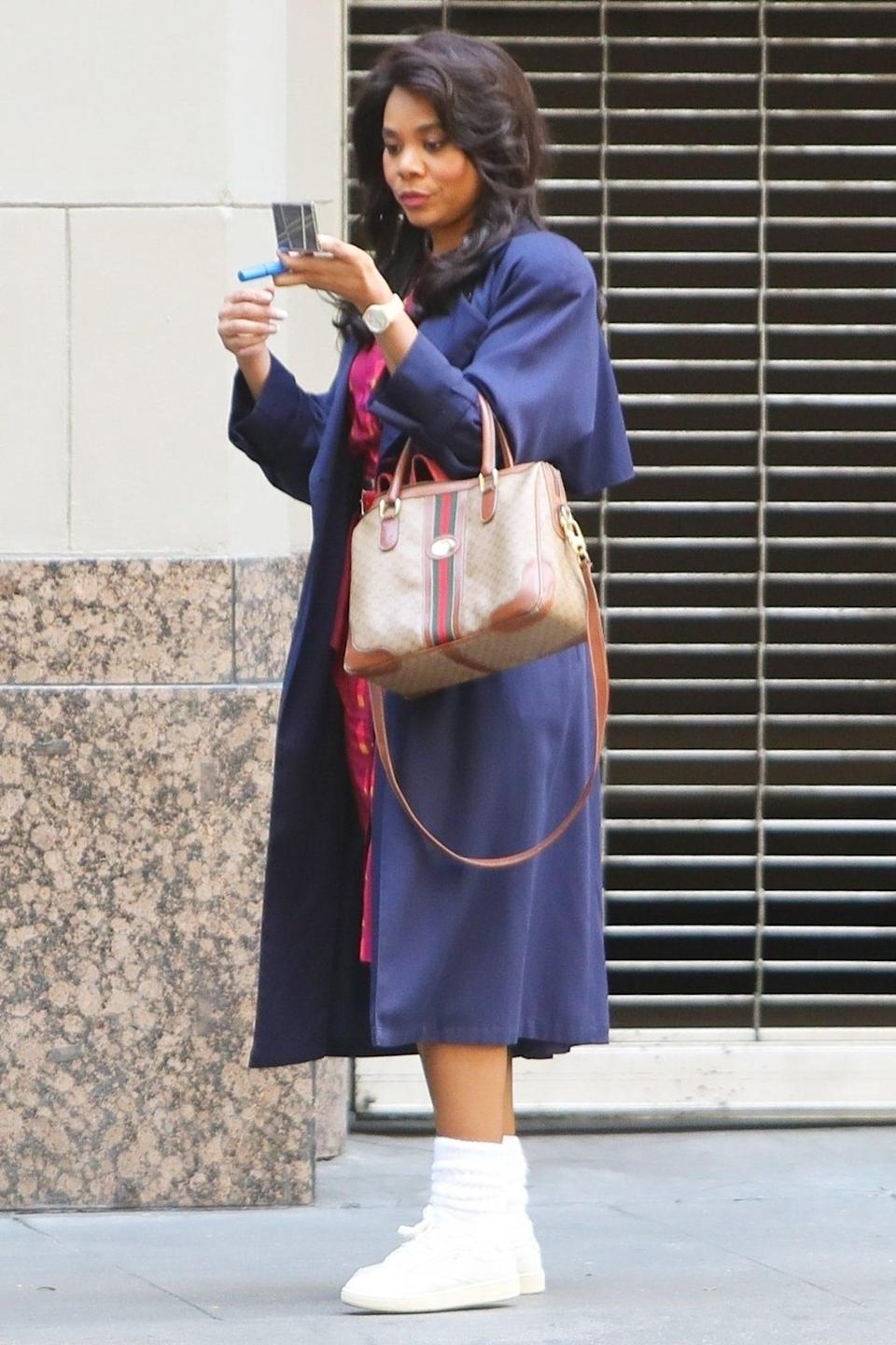 <p>Regina Hall films a scene for her series <em>Black Monday</em> on Wednesday in downtown L.A.</p>