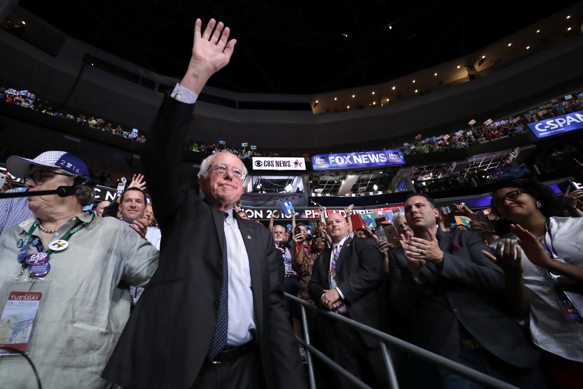Sen. Bernie Sanders waves to the crowd on Tuesday at the DNC in Philadelphia. (Photo: Chip Somodevilla/Getty Images)