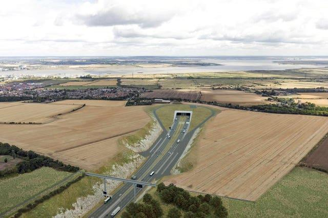 How the southern portal of the Lower Thames Crossing, in Kent will look, as imagined by an artist (Highways England/PA)