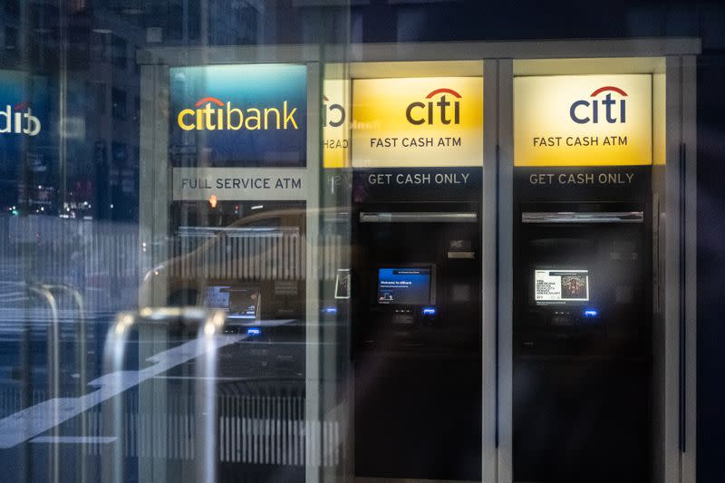 Citi bank ATM machines are seen in New York