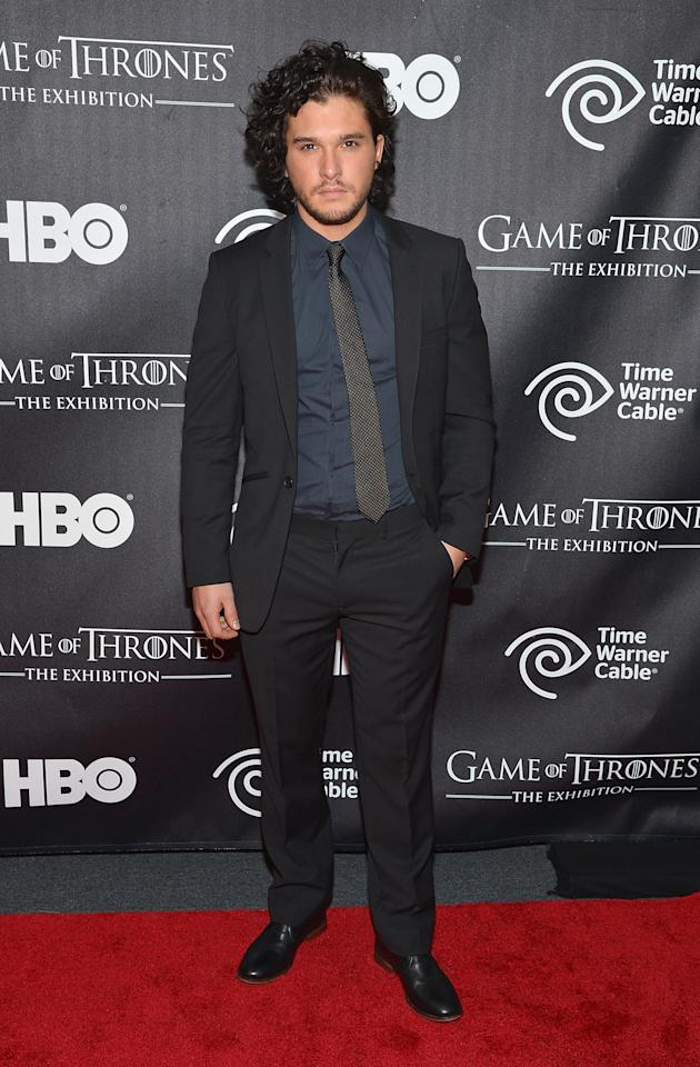 "NEW YORK, NY - MARCH 27:  Actor Kit Harington attends ""Game Of Thrones"" The Exhibition New York Opening at 3 West 57th Avenue on March 27, 2013 in New York City.  (Photo by Mike Coppola/Getty Images)"
