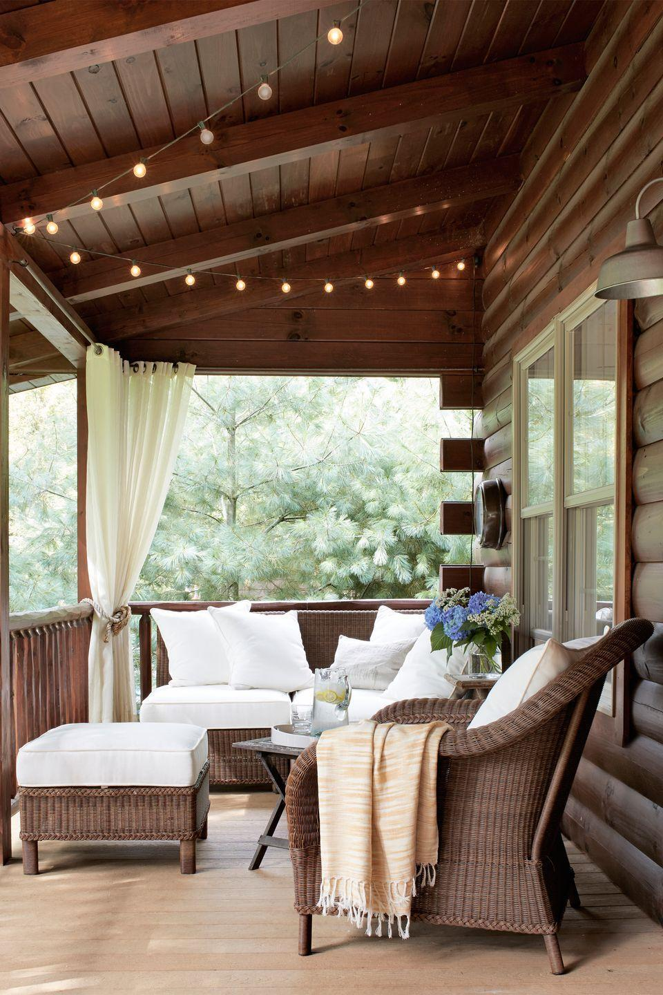 """<p> String lights are an easy, affordable way to turn your porch into an enchanting oasis. Let them drape from the ceiling or a railing, or hang them from a wall.</p><p><a class=""""link rapid-noclick-resp"""" href=""""https://www.amazon.com/AmazonBasics-Weatherproof-Outdoor-String-Lights/dp/B073WFL5B7/?tag=syn-yahoo-20&ascsubtag=%5Bartid%7C10050.g.3404%5Bsrc%7Cyahoo-us"""" rel=""""nofollow noopener"""" target=""""_blank"""" data-ylk=""""slk:SHOP STRING LIGHTS"""">SHOP STRING LIGHTS</a></p>"""