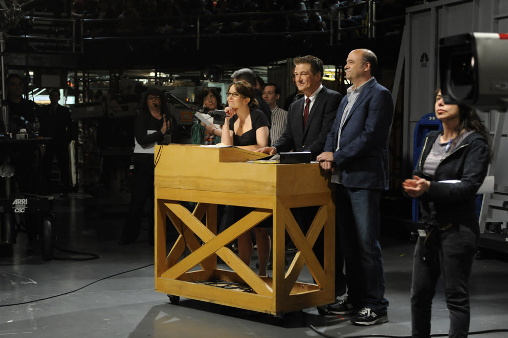 """Tina Fey as Liz Lemon, Alec Baldwin as Jack Donaghy, and Scott Adsit as Pete Hornberger in the """"Live from Studio 6H"""" episode of """"<a href=""""http://tv.yahoo.com/30-rock/show/37064"""">30 Rock</a>."""""""