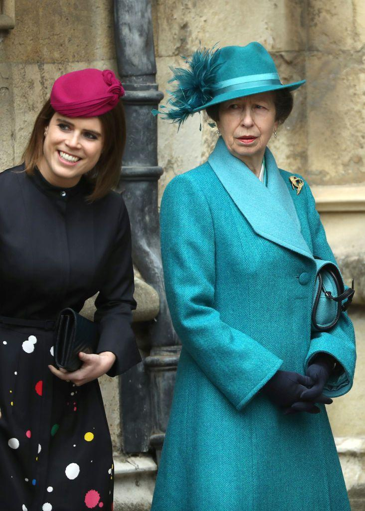 <p>Princess Eugenie and Princess Anne arrive at St. George's Chapel at Windsor Castle for the royal family's Easter church service.</p>