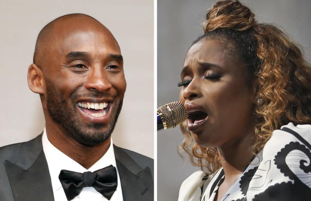 """FILE - At left, in a March 4, 2018, file photo, Kobe Bryant attends the Governors Ball after the Oscars in Los Angeles. At right, in a May 28, 2019, file photo, Jennifer Hudson sings """"Amazing Grace"""" in tribute to Aretha Franklin during the 2019 Pulitzer Prize winners awards luncheon at Columbia University in New York. Jennifer Hudson is coming to the All-Star Game to pay tribute to Kobe Bryant with her voice. (AP Photo/File)"""