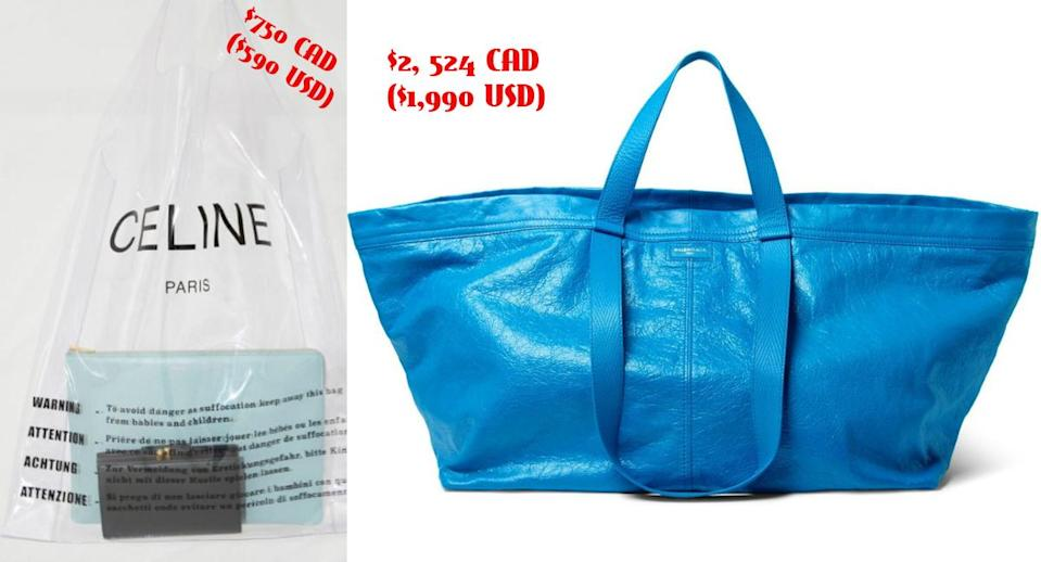 In a battle between ridiculously-priced cheap looking bags– which one wins? <em>(Photo: Céline/Balenciaga)</em>