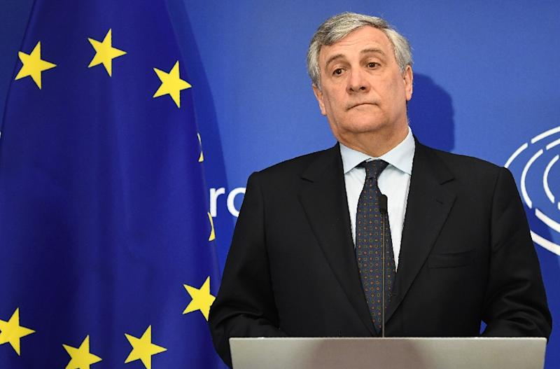 European Parliament President Antonio Tajani looks on during a press conference with the European Parliament's chief Brexit negotiator after Britain initiated the process to leave the EU at the European Parliament in Brussels on March 29, 2017