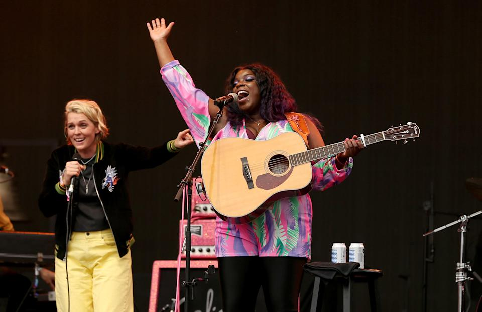 Brandi Carlile and Yola perform onstage during Ohana Fest at Doheny State Beach on September 26, 2021 in Dana Point, California. - Credit: Karl Walter for Variety