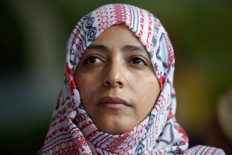 Nobel Peace Prize winner Tawakkol Karman of Yemen looks on during a news conference against mining in the town of Casillas