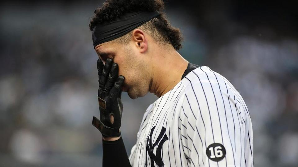 Gary Sanchez with his hand on his face