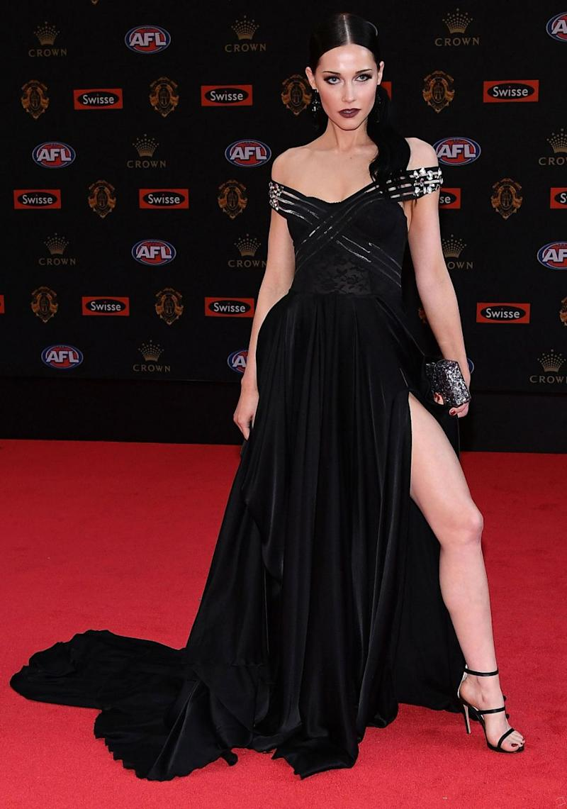 All eyes were on Brisbane Lions player Stefan Martin's partner Madeline Ryan on Monday night when she arrived at the Brownlow Medal Awards in this leggy outfit. Source: Getty