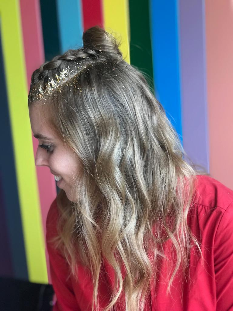 Princess Beatrice with glitter parting at Wilderness 2019, created by Adam Embleton/Josh Wood Colour. [Photo: @joshwoodcolour for @aynhoebackstage at Wilderness 2019]