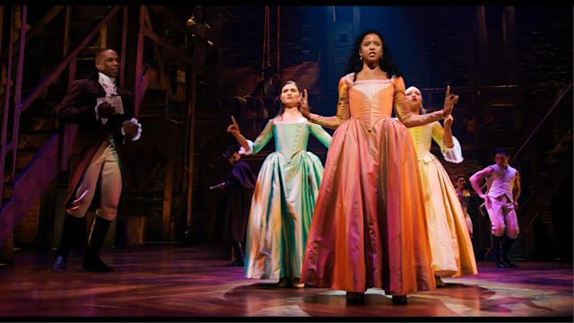 Phillipa Soo is Eliza Hamilton, Renée Elise Goldsberry is Angelica Schuyler and Jasmine Cephas Jones is Peggy Schuyler in HAMILTON, the filmed version of the original Broadway production. (Disney+)