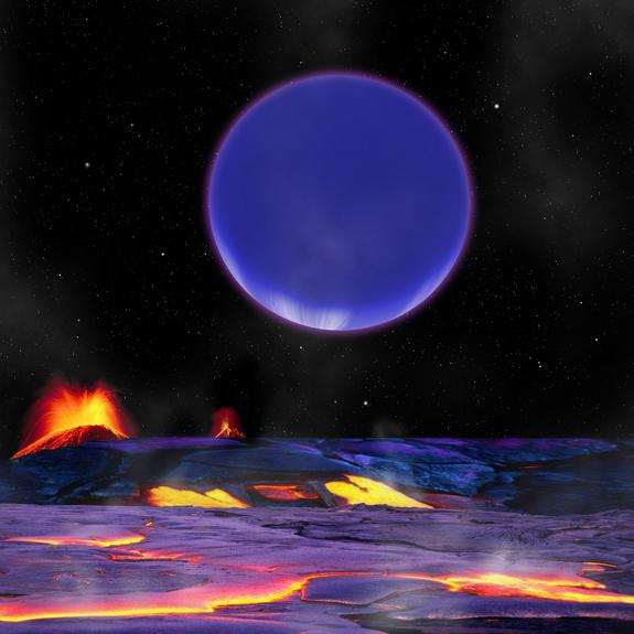 An artist's conception shows the newfound alien planet Kepler-36c as it might look from the surface of Kepler-36b.