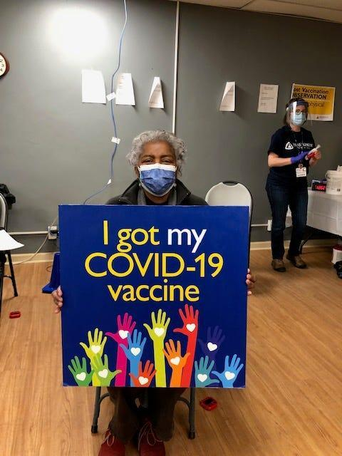 Donna Brazile at a vaccine center in Washington, D.C., in February 2021.
